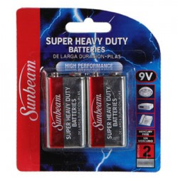 BATERIA SUPER HEAVY DUTY SUNBEAM 9V PQTE DE 2